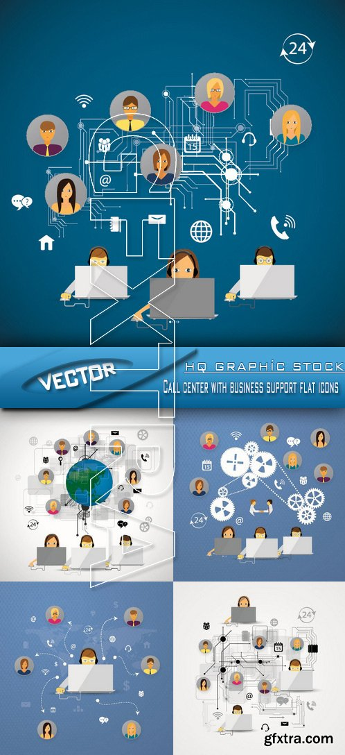Stock Vector - Call center with business support flat icons