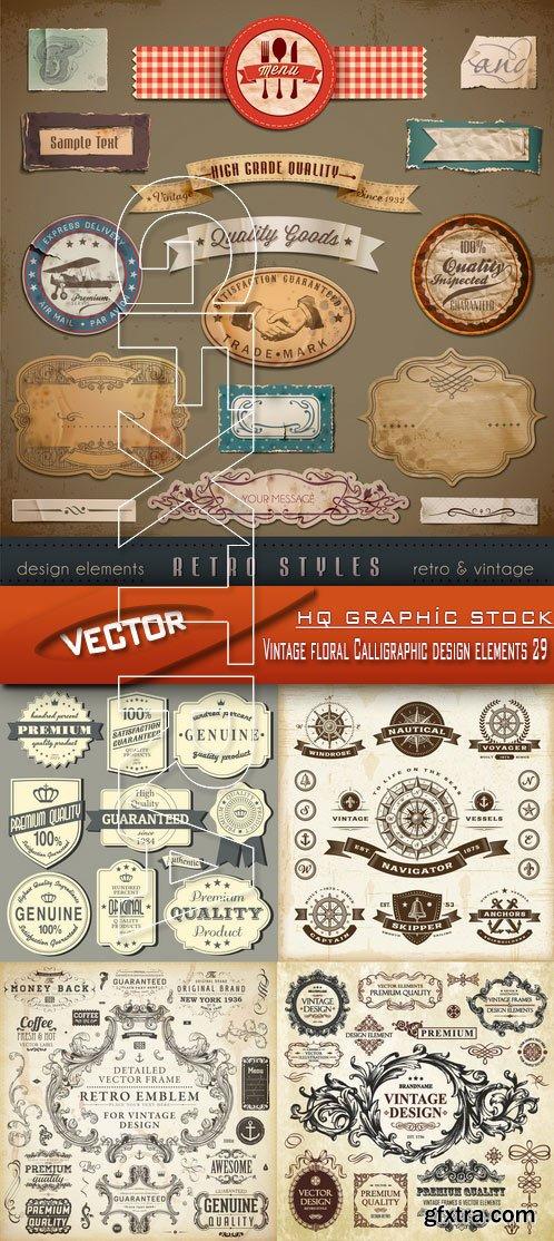 Stock Vector - Vintage floral Calligraphic design elements 29