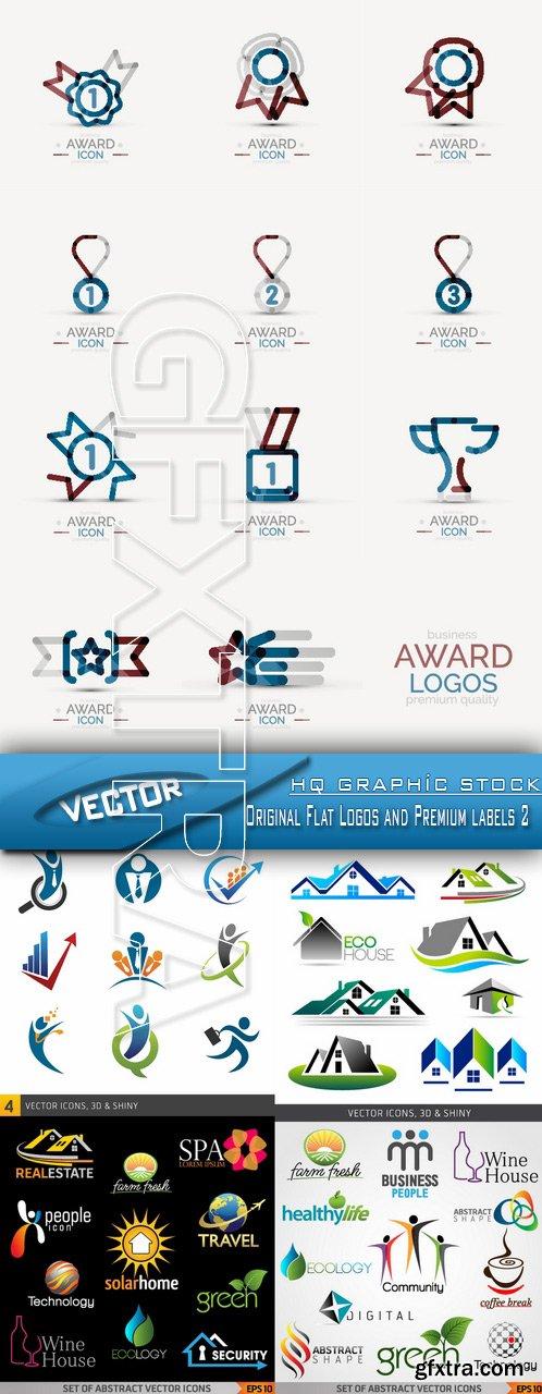 Stock Vector - Original Flat Logos and Premium labels 2