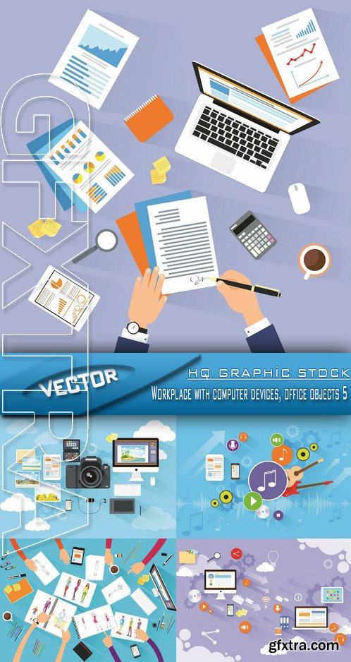 Stock Vector - Workplace with computer devices, office objects 5
