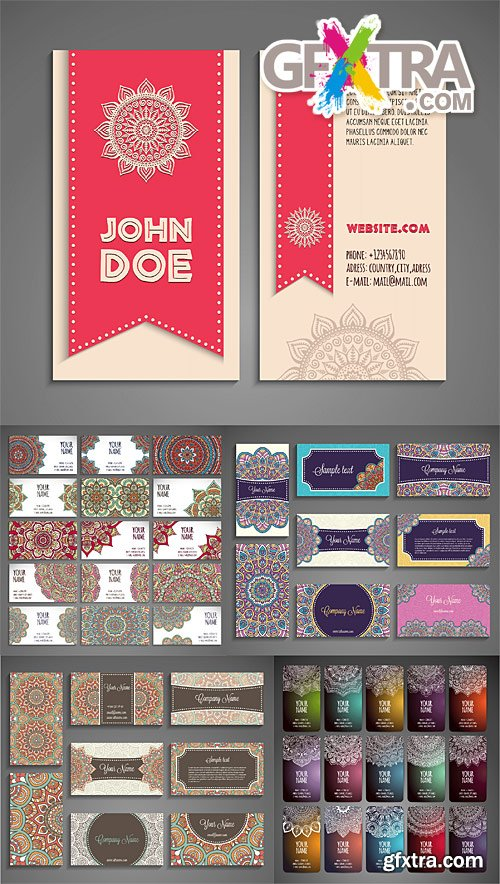 Business cards or invitations with vintage decorative elements