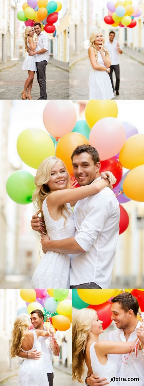 Stock Photos - Couple with Colorful Balloons