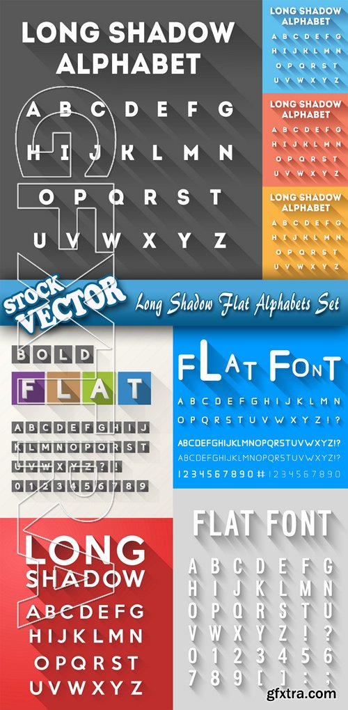 Stock Vector - Long Shadow Flat Alphabets Set