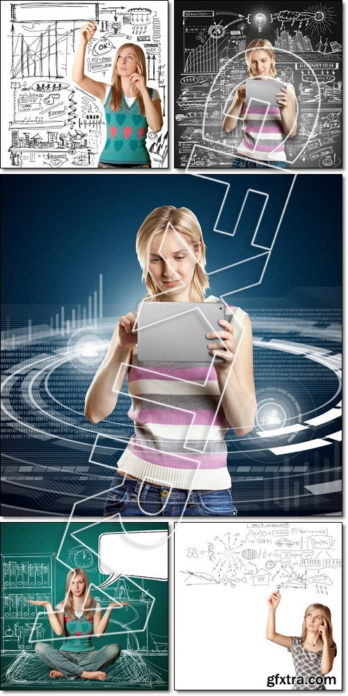 Idea Concept Businesswoman With Touch Pad - Stock photo