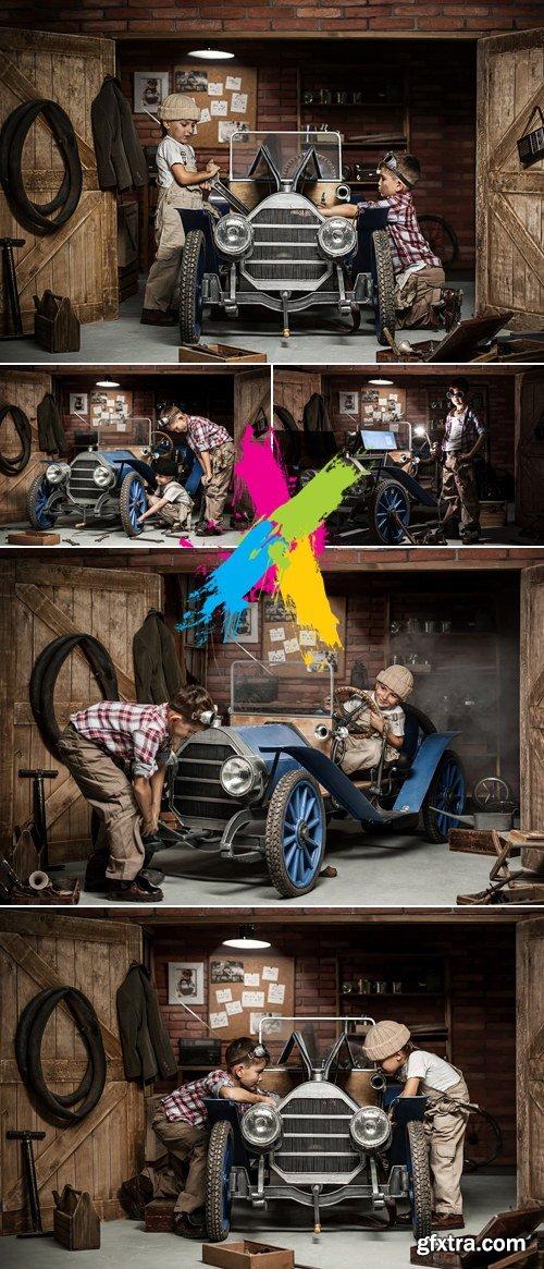 Stock Photo - Two Young Boys Mechanics