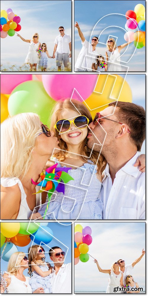 Happy family with colorful balloons - Stock photo