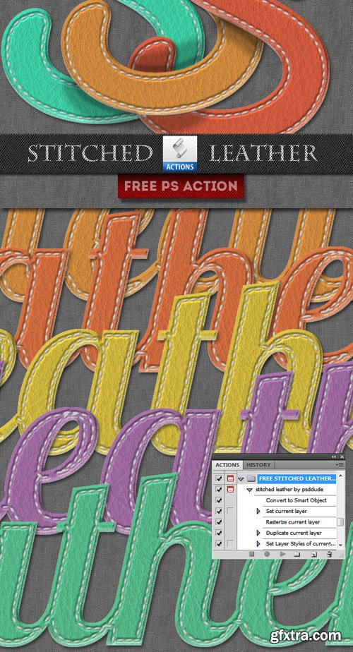 Photoshop Action - Stitched Leather