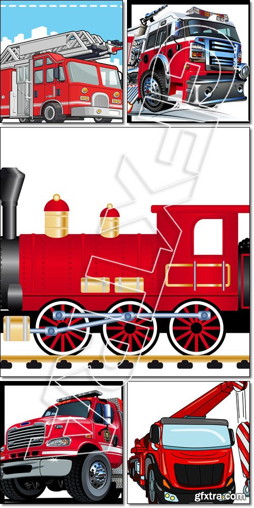 Cartoon fire truck, crane, locomotive with tank wagon - Vector
