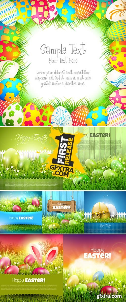 Stock: Easter background with colorful eggs in grass and empty paper