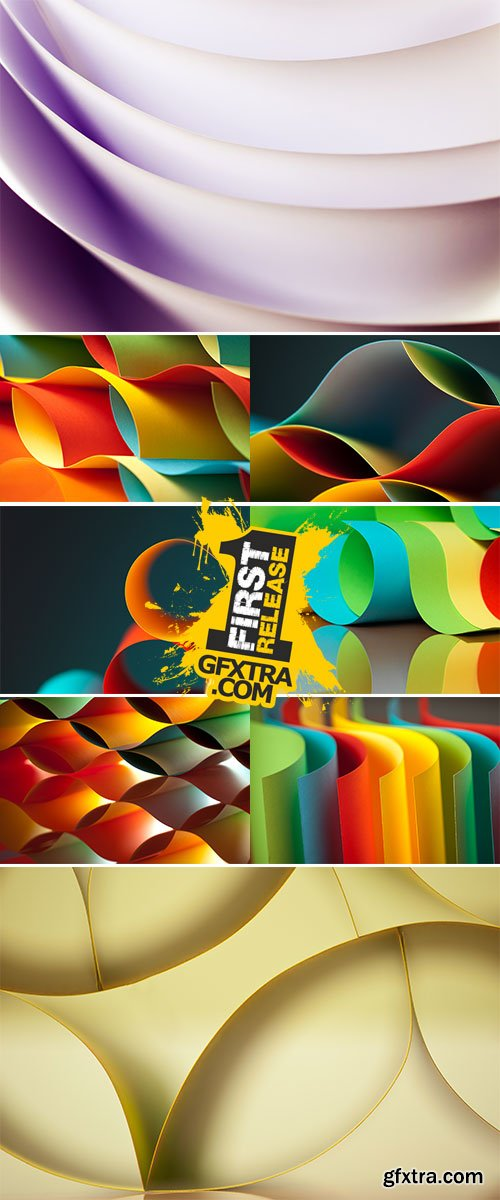Stock Photo: Graphic abstract image of colorful origami pattern made of curved sheets of paper