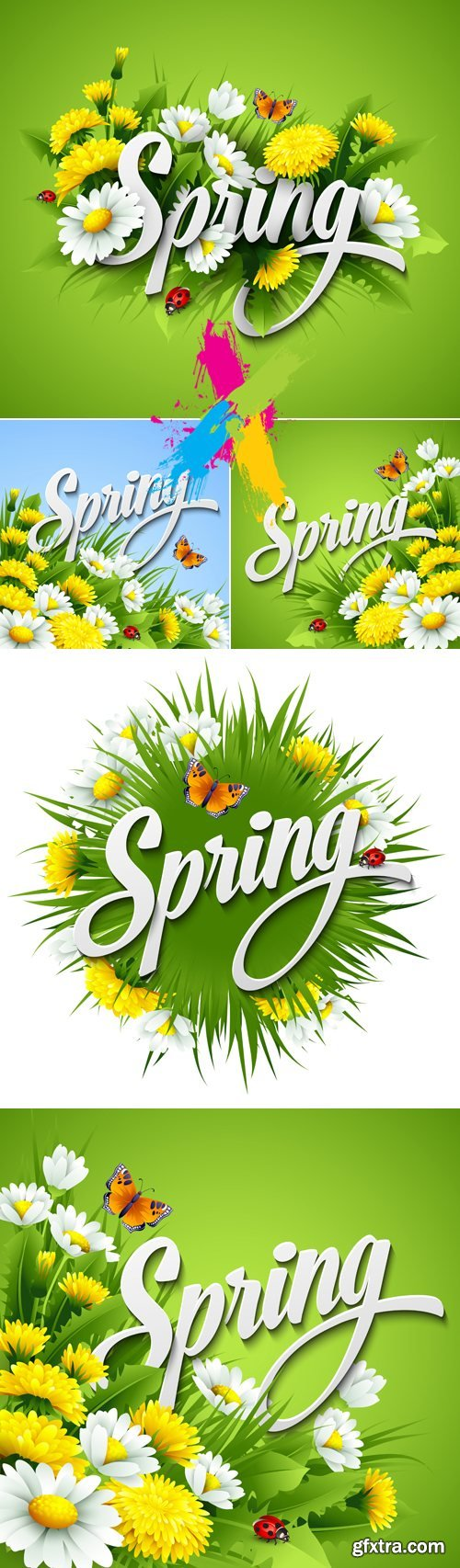 Spring, Flowers & Grass Backgrounds Vector