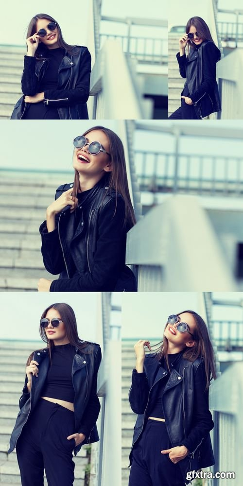 Stock Photos - Fashion Model in Sunglasses and Black Leather Jacket Posing Outdoor