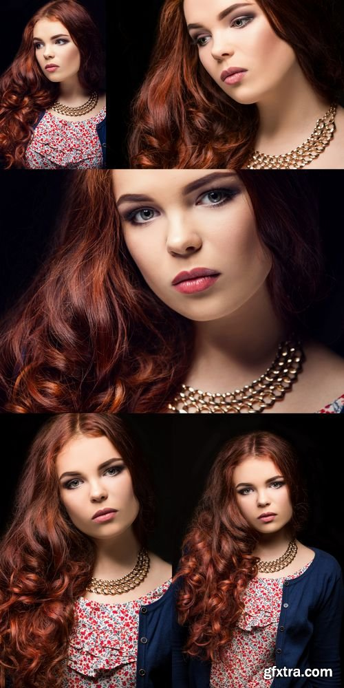 Stock Photos - Beautiful Girl on a Black Background - Fashion Portrait