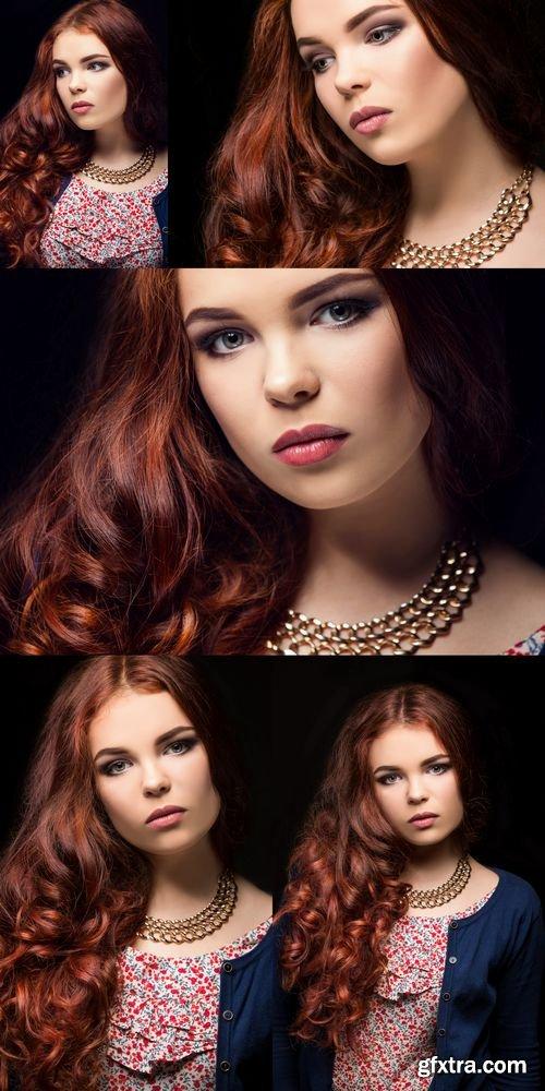 Stock Photos - Beautiful Girl on a Black Background - Fashion Portrait