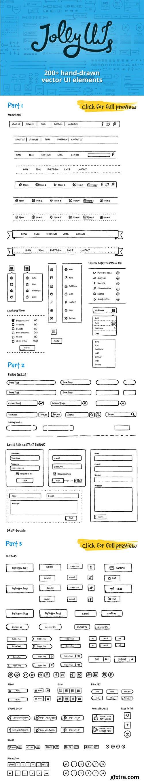 Jolly UI Kit: Hand-drawn UI elements - CM 23094