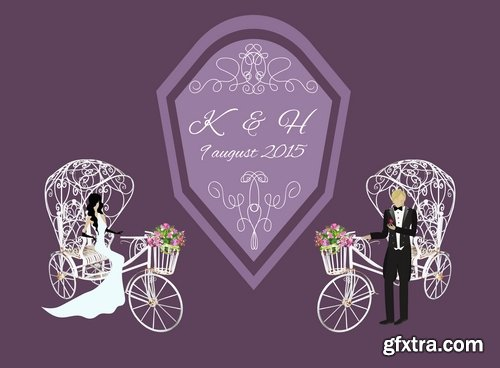 Collection of different wedding invitation cards #4-25 Eps