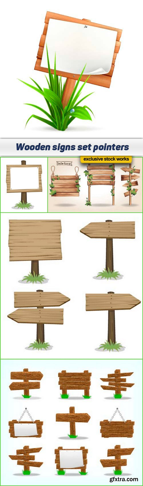 Wooden signs set pointers 5x EPS