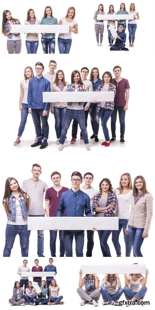Stock Photos - Happy Young Students Hold a Long Board