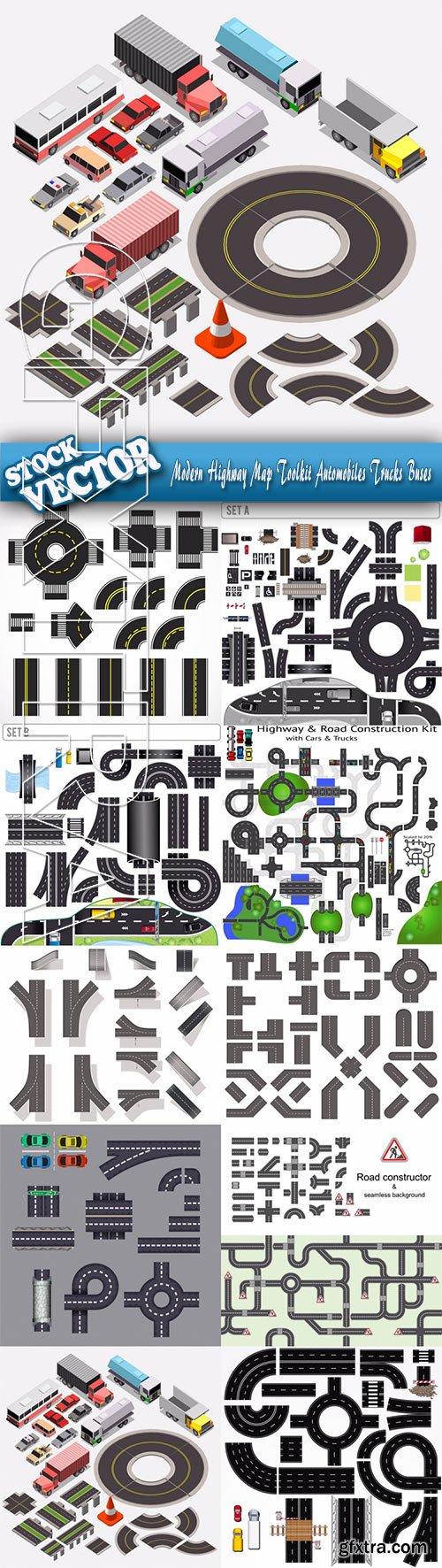 Stock Vector - Modern Highway Map Toolkit Automobiles Trucks Buses