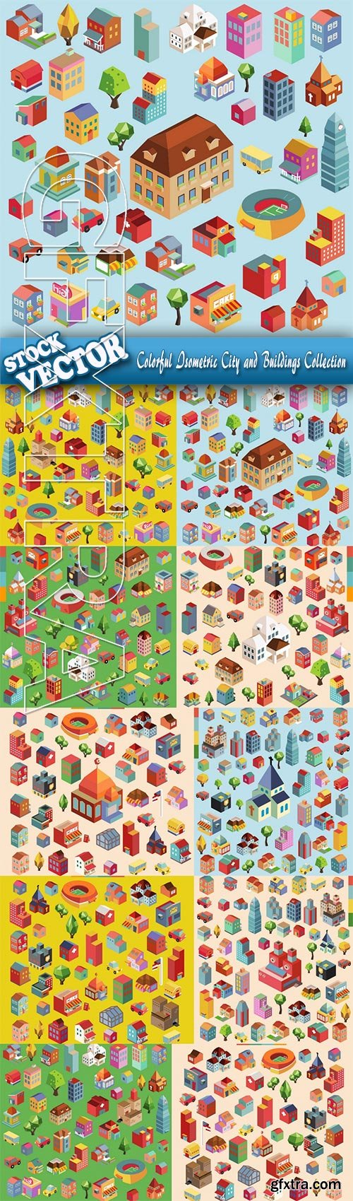 Stock Vector - Colorful Isometric City and Buildings Collection