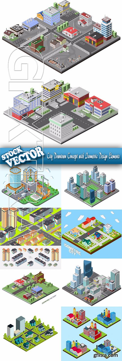 Stock Vector - City Downtown Concept with Isometric Design Elements