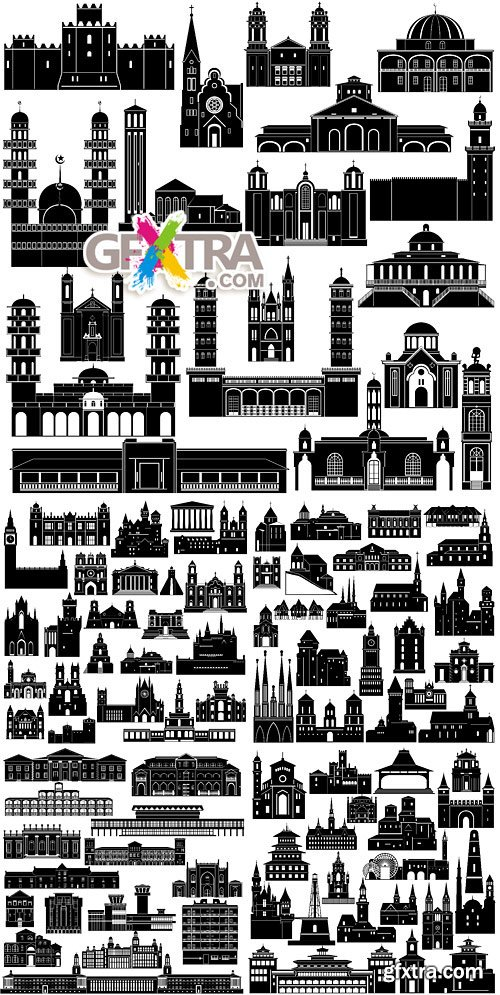 World architecture - silhouettes of buildings 2