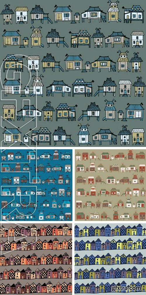 Stock Vectors - Cartoon houses streets. Seamless pattern in vector