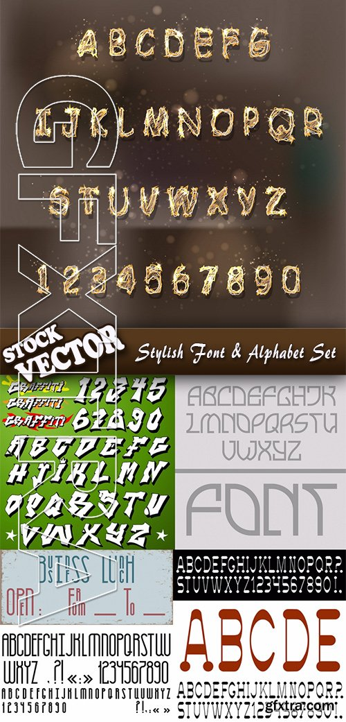Stock Vector - Stylish Font & Alphabet Set