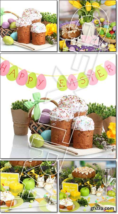 Serving Easter table on room background - Stock photo