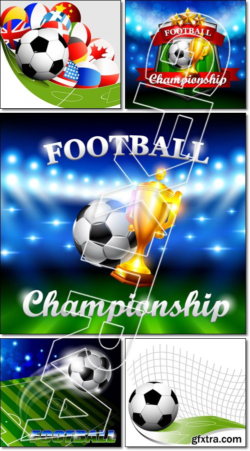 Abstract football background, Football Championship with flags - Vector