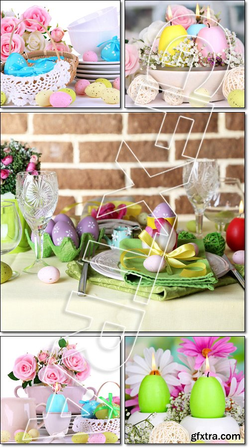 Beautiful holiday Easter table setting, on bright and white background - Stock photo