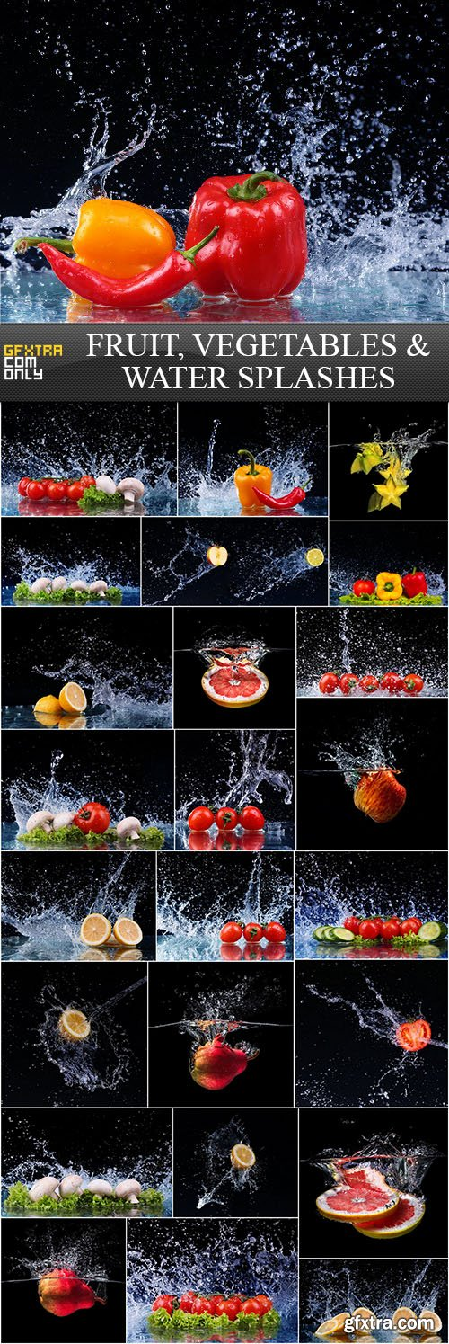Fruit, Vegetables and Water Splashes, 25xUHQ JPEG