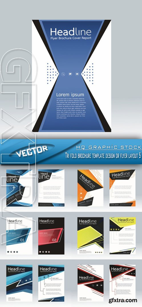 Stock Vector Tri Fold Brochure Template Design Or Flyer Layout 5