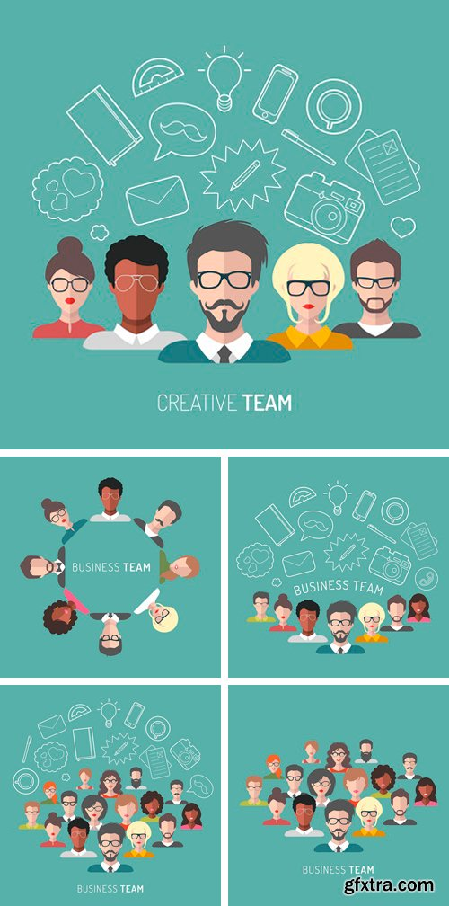 Stock Vectors - Vector illustration of business team management in flat style