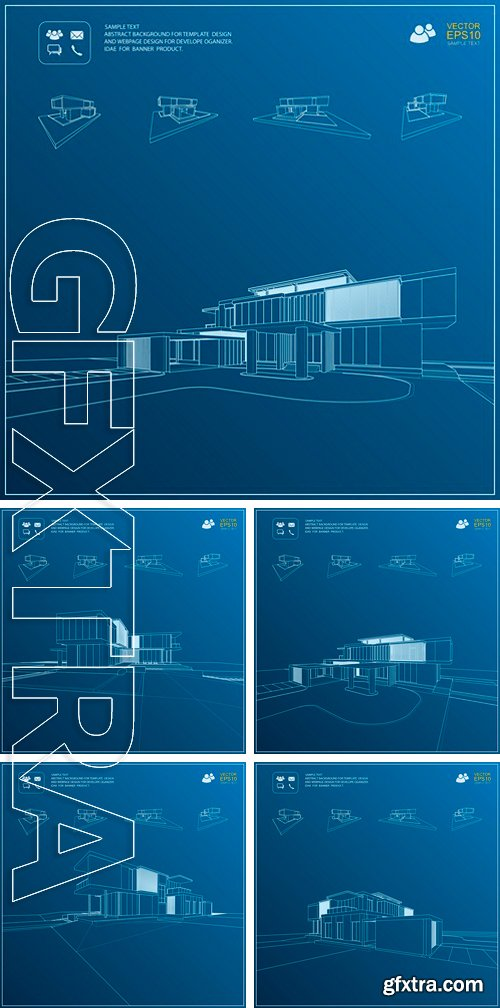 Stock Vectors - Wireframe blueprint drawing of 3D building