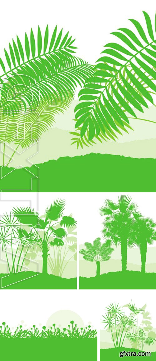 Stock Vectors - Palm tree landscape ecology environment green concept background vector