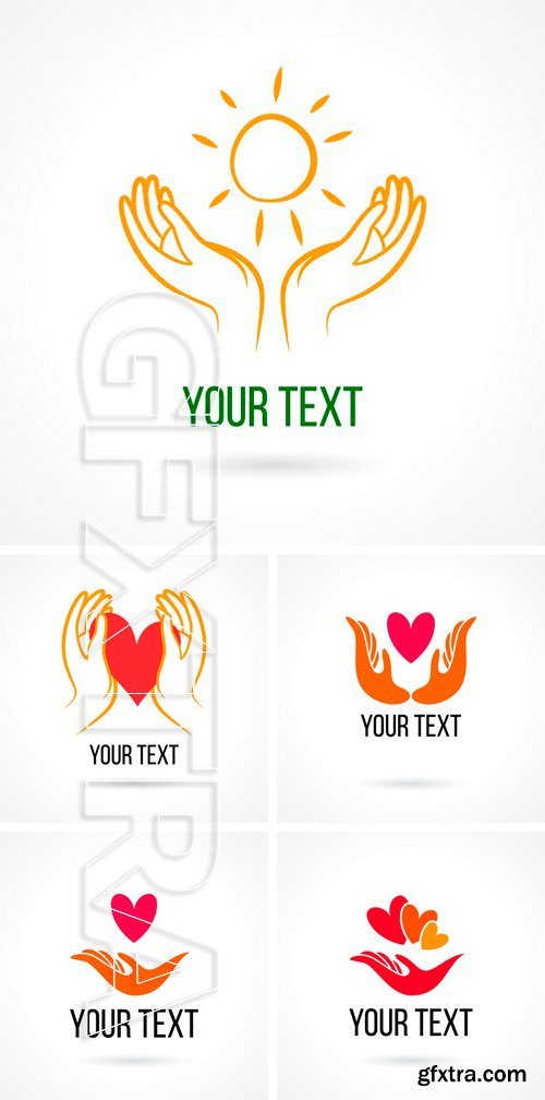 Stock Vectors - Vector logo with hand, heart, bird, open palm and elements