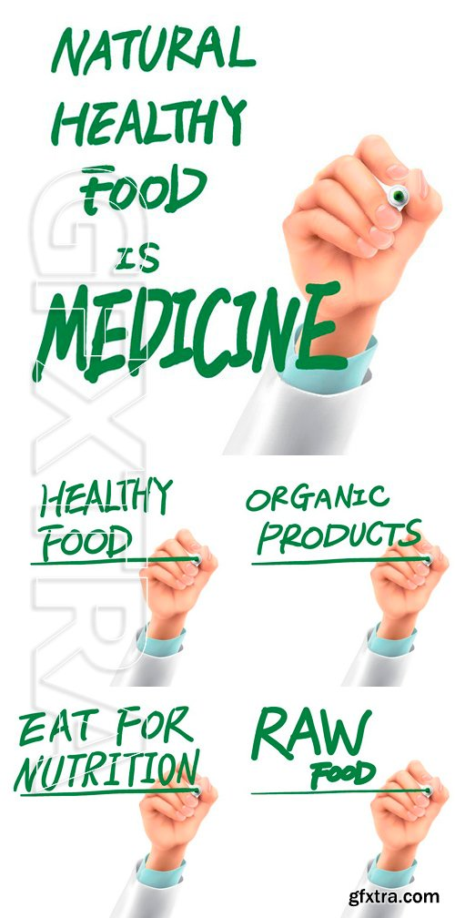 Stock Vectors - Doctor writing organic products words in the air