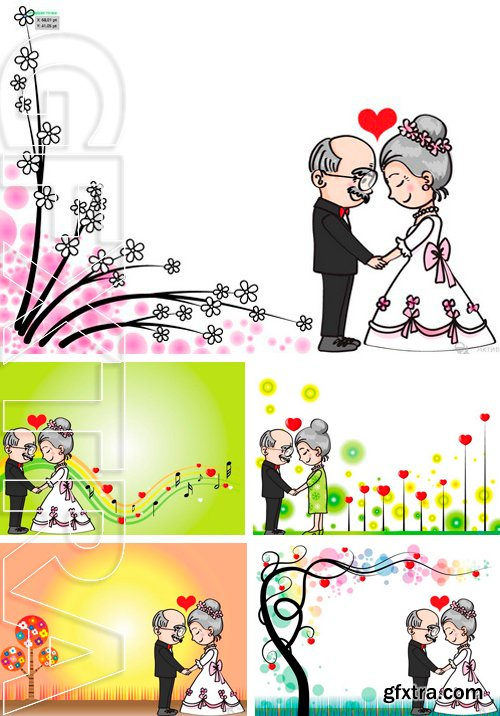 Stock Vectors - Wedding anniversary card border for old people