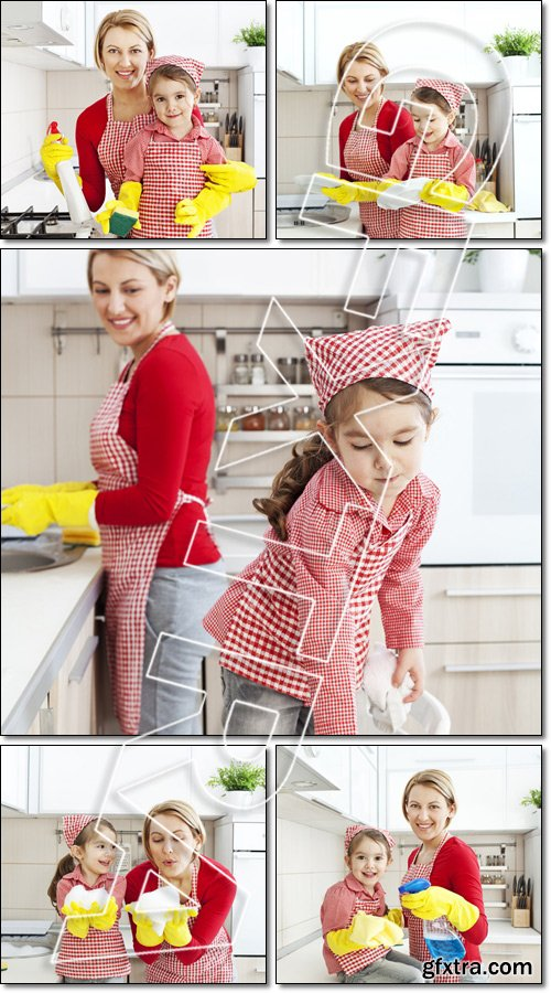 Cleaning Together. Mother And Daughter In The Kitchen - Stock photo