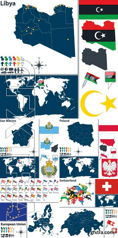 Stock Vectors - World maps 2