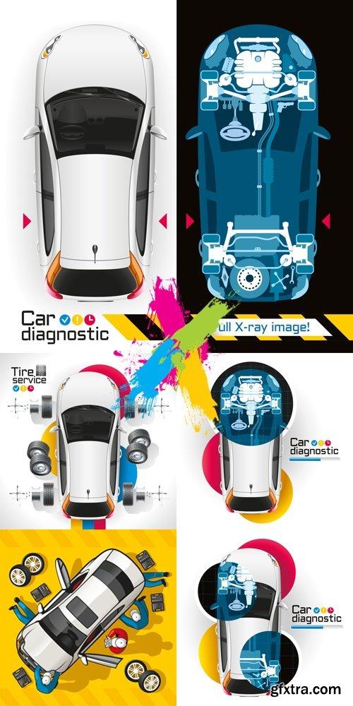 Car Diagnostic & Repair Concept Vector
