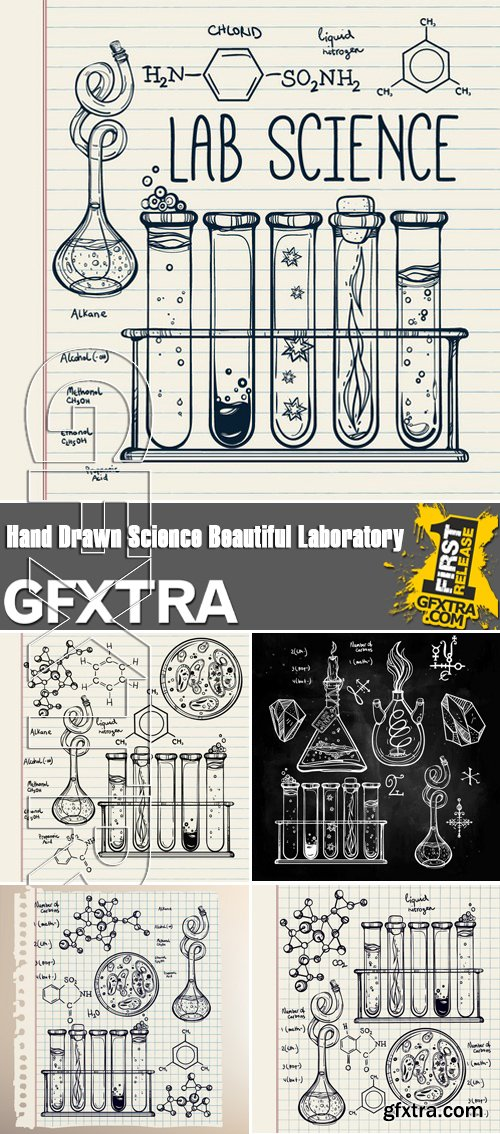 Stock Vectors - Hand Drawn Science Beautiful Laboratory Icons Sketch
