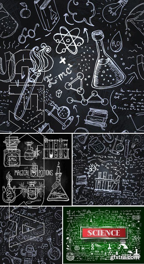Stock Vectors - Science Lab Objects Doodle Vintage Style Sketches Seamless Pattern