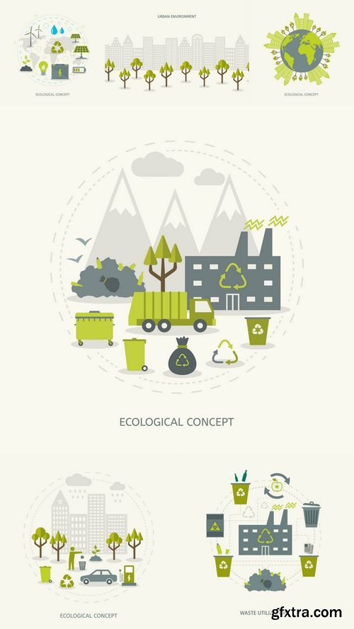Vector - Ecologic Recycling and Renewable Energy Concept in Flat Style