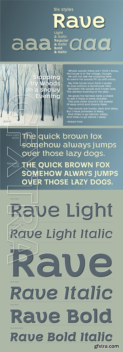Rave - Fancy Gothic Semi-Serif Family 6xOTF $230
