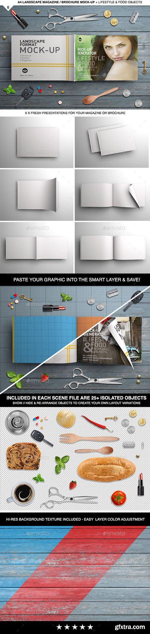 GraphicRiver: A4 Landscape - Magazine Mock-Up & Scene Generator 10945853