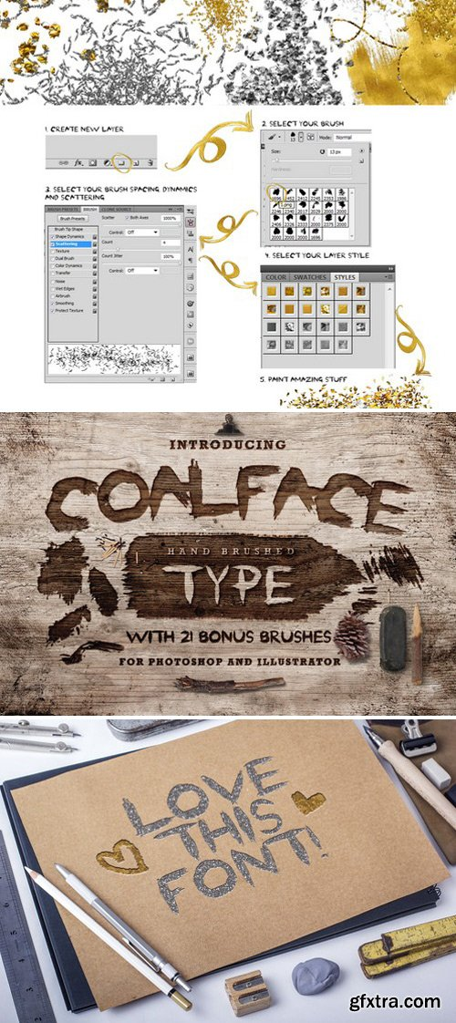 CM - Coalface Font + brushes and styles