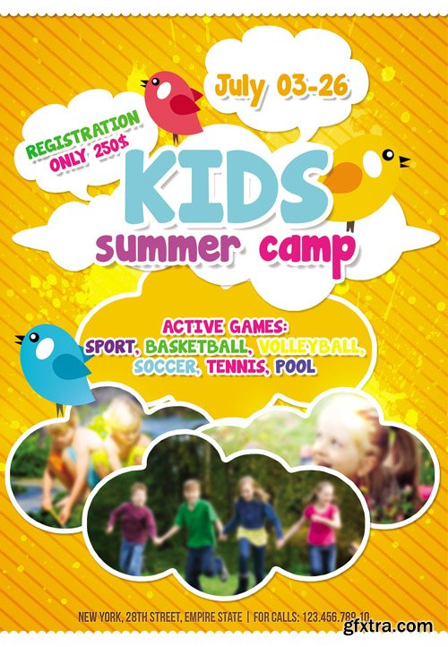 Kids Summer Camp Flyer Template Facebook Cover Vector Photoshop