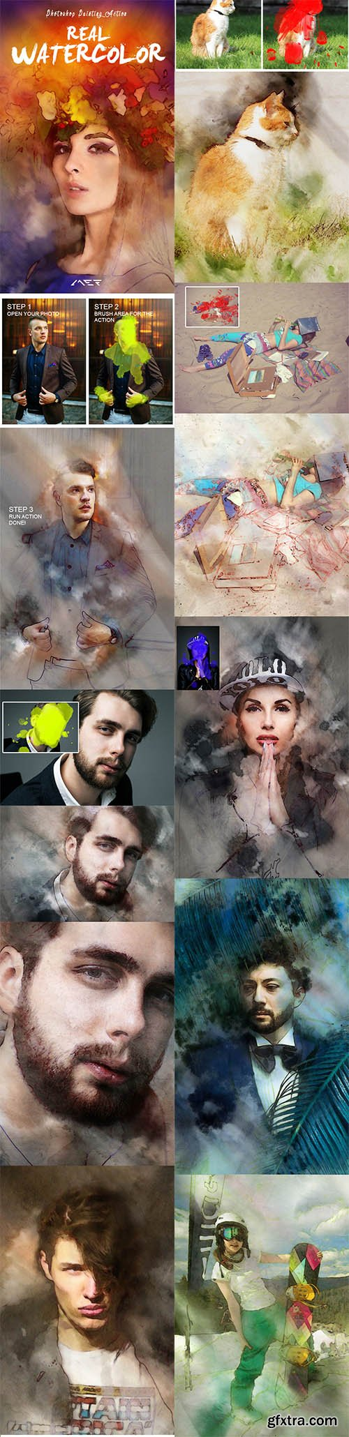 GraphicRiver Real Watercolor Painting Photoshop Action 11044807